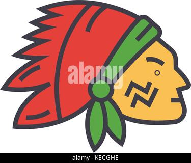 Indian head flat line illustration, concept vector isolated icon  - Stock Photo