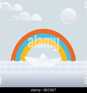 Simple drawing of a paper boat on the background of the sea and the rainbow - Stock Photo