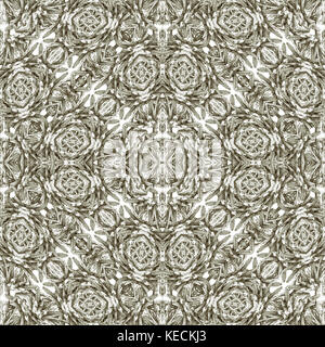Digital collage technique modern baroque ornate seamless pattern mosaic design in silver tones - Stock Photo