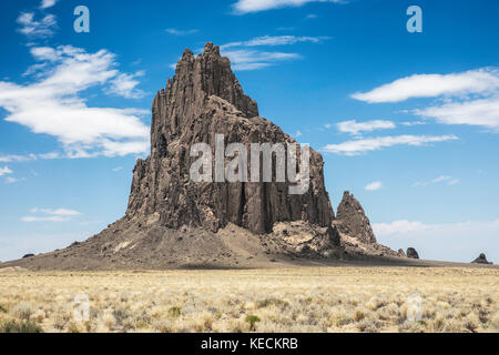 Shiprock is a classic example of a volcanic plug, New Mexico, USA - Stock Photo