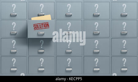 Filing cabinets containing different possibilities, only one drawer holds the solution: problem solving and solution - Stock Photo