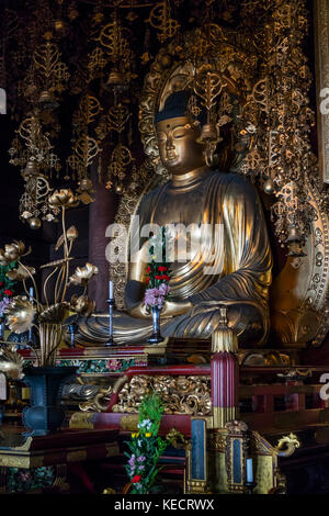 Kyoto, Japan - May 18, 2017: Golden Buddha in Chion-In Temple Kyoto, Japan  Chion-in in Higashiyama-ku, Kyoto, Japan - Stock Photo