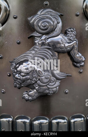 Kyoto, Japan -  May 23, 2017: Decoration of a guardian lion dog in the Higashi Honganji Temple in Kyoto - Stock Photo