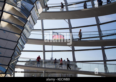 Reichstag dome, view from inside with german flag and tourist silhouette. historic edifice of Bundestag - Stock Photo