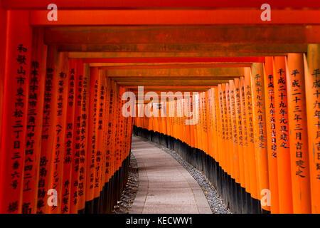 Kyoto, Japan - May 9, 2017: Torii gates at Fushimi Inari Taisha Shrine. Fushimi Inari Taisha is a shinto shrine - Stock Photo