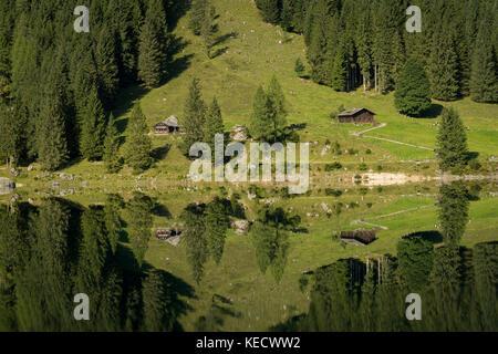 Vorderer Gosausee in Salzkammergut (Austria) in summer, reflection in water - Stock Photo