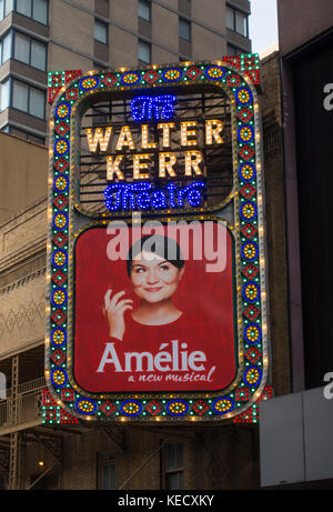 Amelie Broadway theater marquee NYC - Stock Photo