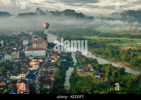 Morning view of Vang Vieng, Northern Laos. - Stock Photo