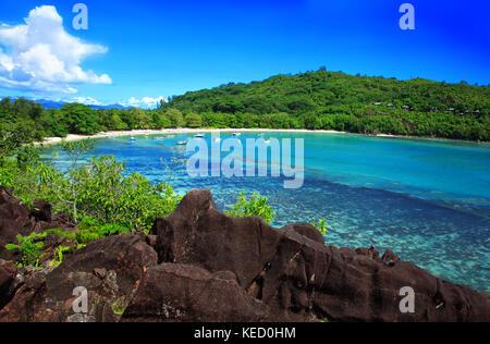 Port Launay Marine Park, Island Mahé, Republic of Seychelles. - Stock Photo
