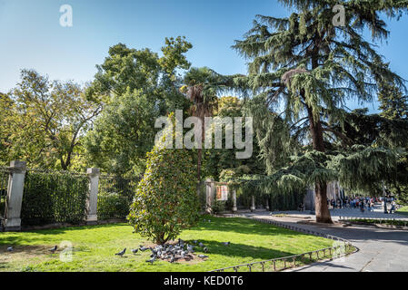 Madrid, Spain - October 14, 2017: Entrance to Royal Botanical Garden of Madrid, it is located near to Prado Museum - Stock Photo