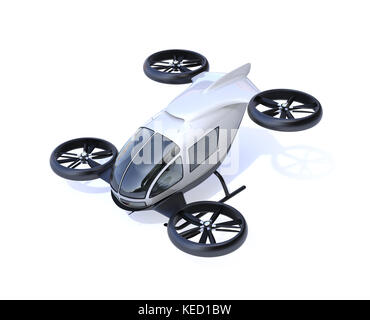 White self-driving passenger drone isolated on white background. 3D rendering image. - Stock Photo