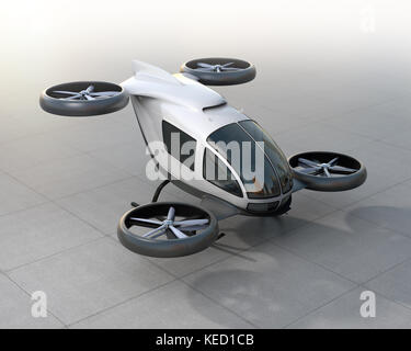 White self-driving passenger drone landing on the ground. 3D rendering image. - Stock Photo