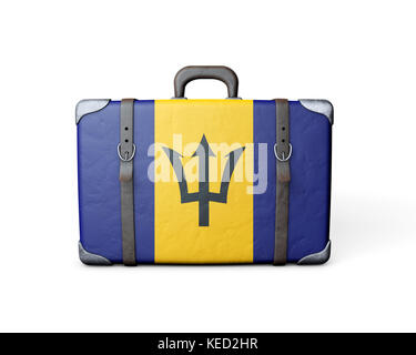 Barbados flag on a vintage leather suitcase. 3D Rendering - Stock Photo