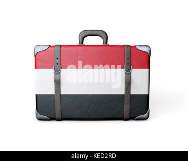 Yemen flag on a vintage leather suitcase. 3D Rendering - Stock Photo