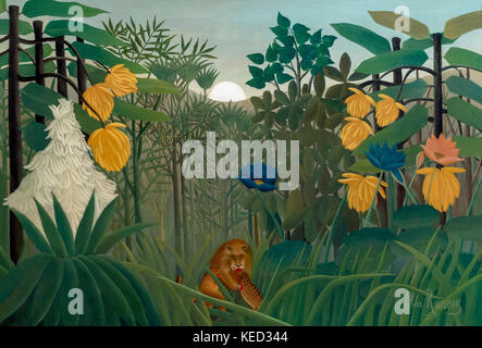 The Repast of the Lion, Henri Rousseau, le Douanier, circa 1907, Metropolitan Museum of Art, Manhattan, New York - Stock Photo