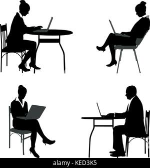 business people working on their laptops silhouettes - vector - Stock Photo