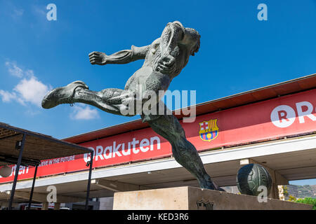 Soccer pplayer sculpture located outside of the Camp Nou stadium, Barcelona, Catalonia, Spain. - Stock Photo