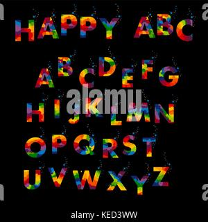 Vector of stylized colorful font and alphabet - Stock Photo