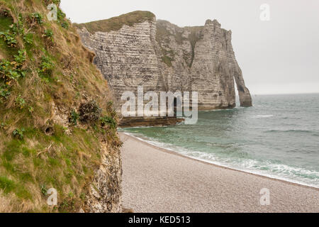 Etretat, France - Cliffs at Cote d'Albatre (Alabaster Coast). Part of the French coast of the English Channel. - Stock Photo
