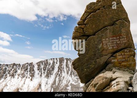 The highest navigable road at Khardungla Top, Ladakh, India at 18380 feet above sea level - Stock Photo