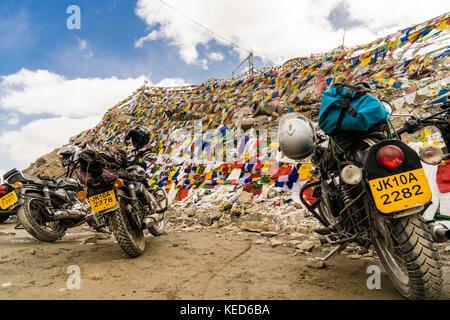 Motorcycles on the highest navigable road at Khardungla Top, Ladakh, India - Stock Photo