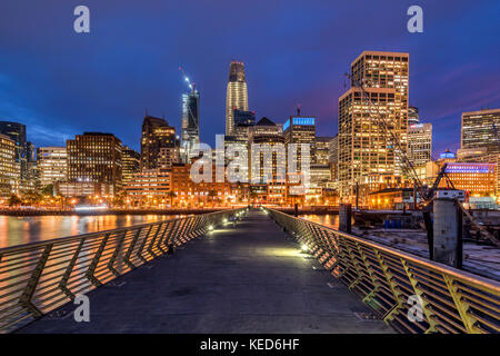 Night view of downtown skyline from Embarcadero, San Francisco, California, USA - Stock Photo