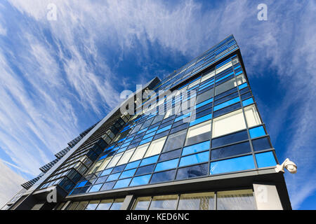 Looking up at the Glass Wharf building, Bristol, UK. - Stock Photo