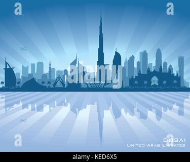 Dubai UAE city skyline vector silhouette illustration - Stock Photo