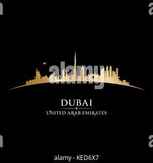 Dubai UAE skyline Detailed vector silhouette - Stock Photo