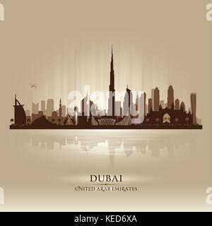 Dubai UAE city skyline vector silhouette illustration - Stock Photo
