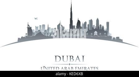 Dubai UAE city skyline silhouette. Vector illustration - Stock Photo