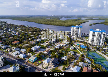 Fort Ft. Myers Beach Florida Estero Island Estero Bay Aquatic Preserve Ostego Bay aerial overhead bird's eye view - Stock Photo