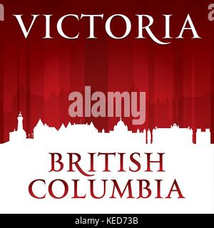 Victoria British Columbia Canada city skyline silhouette. Vector illustration - Stock Photo