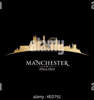 Manchester England city skyline silhouette. Vector illustration - Stock Photo