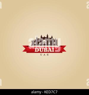 Dubai UAE city symbol vector illustration - Stock Photo
