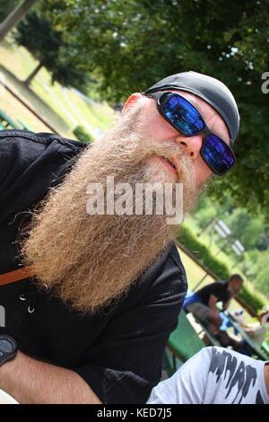 Mann mit langem Bart und Sonnenbrille, Portrait - Stock Photo