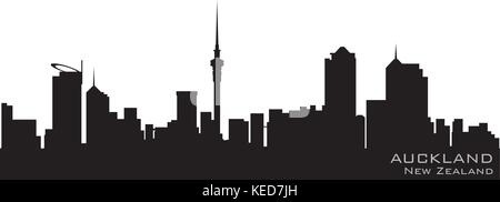 Auckland, New Zealand skyline. Detailed vector silhouette - Stock Photo