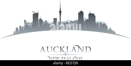 Auckland New Zealand city skyline silhouette. Vector illustration - Stock Photo