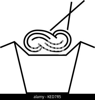noodles in box with chopsticks - Stock Photo