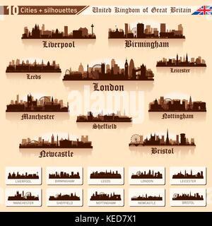 City skyline set. Great Britain. Vector silhouette illustration. - Stock Photo