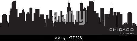 Chicago, Illinois skyline. Detailed vector silhouette - Stock Photo