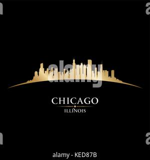 Chicago Illinois city skyline silhouette. Vector illustration - Stock Photo