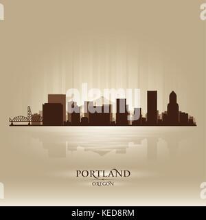 Portland Oregon skyline city silhouette - Stock Photo