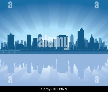 Tulsa, Oklahoma skyline with reflection in water - Stock Photo