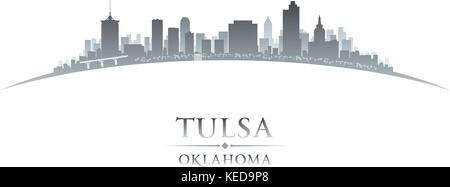 Tulsa Oklahoma city skyline silhouette. Vector illustration - Stock Photo