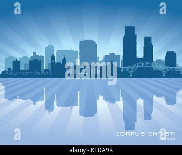 Corpus Christi Texas city skyline vector silhouette illustration - Stock Photo