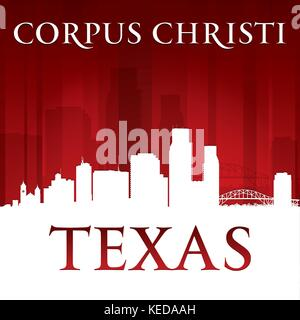 Corpus Christi Texas city skyline silhouette. Vector illustration - Stock Photo