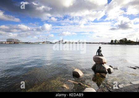Sculptures of the Mermaid from Andersen's Tale, Copenhagen - Stock Photo