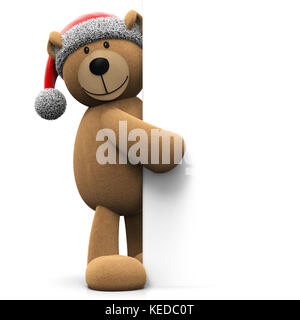 Christmas teddy bear pointing on blank background with copy space isolated on white background 3D rendering - Stock Photo