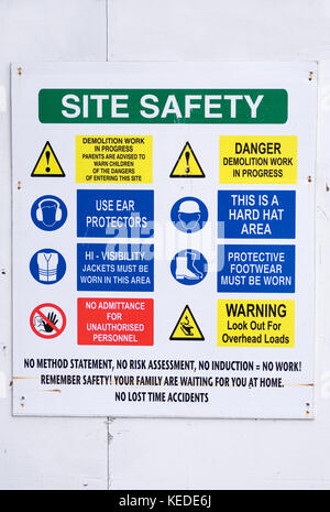 Building Site Construction Health and Safety Sign Board - Stock Photo